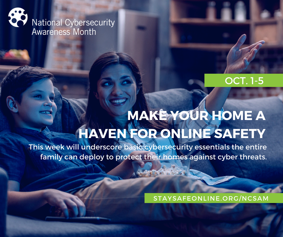 "Mother and son sitting on couch overlaid with ""Make Your Home A Haven For Online Safety"""